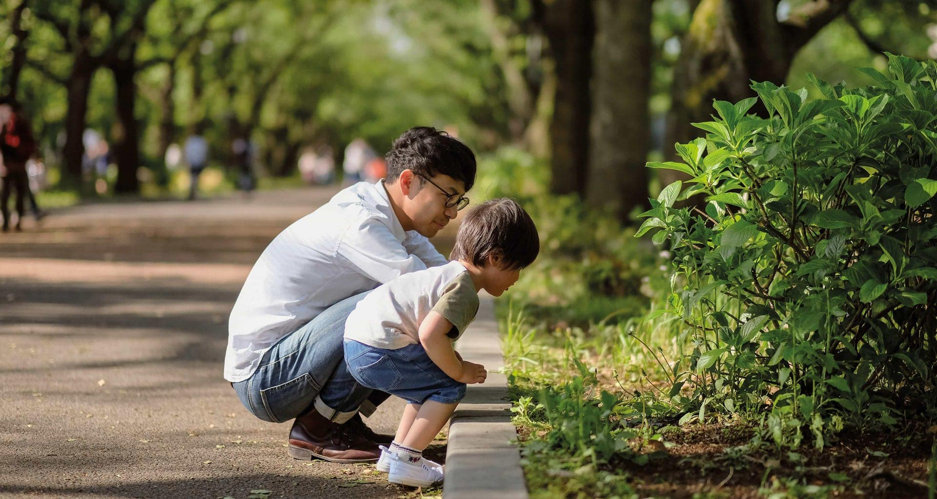 Father and son looking at plants in a park